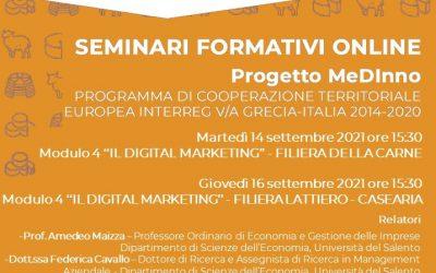 FREE Training Seminars of the MEDINNO project – Module 4   UPI Puglia